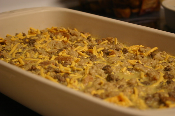 Egg Casserole before cooking after refrigerating overnight.