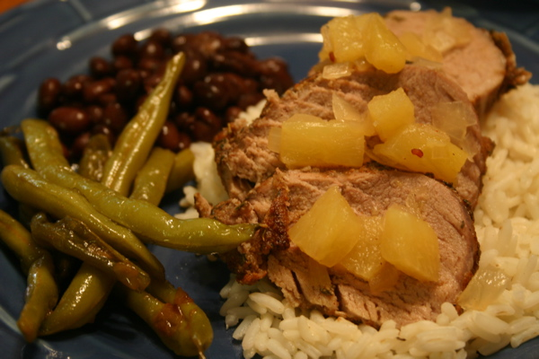 Jerk Pork with Pineapple Chutney