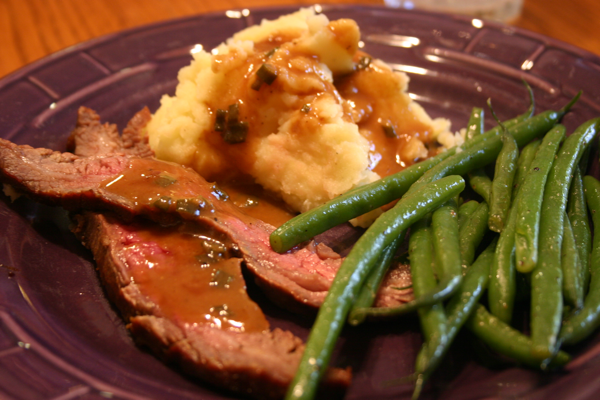 Home » Beef » Bourbon and Brown Sugar Flank Steak with Garlic Mashed ...