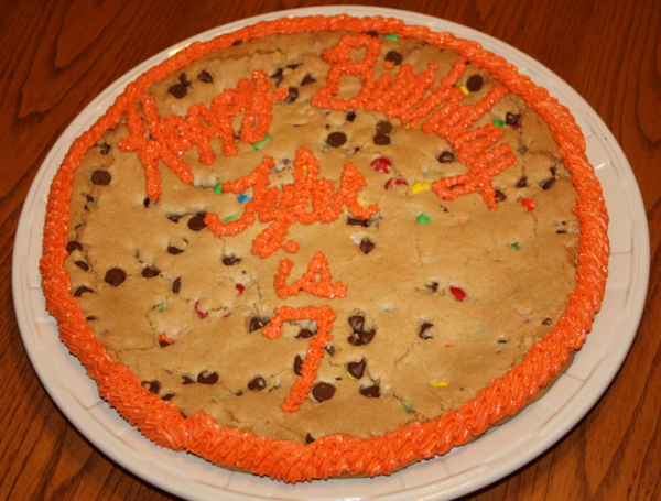 A Happy Birthday Cookie Cake.