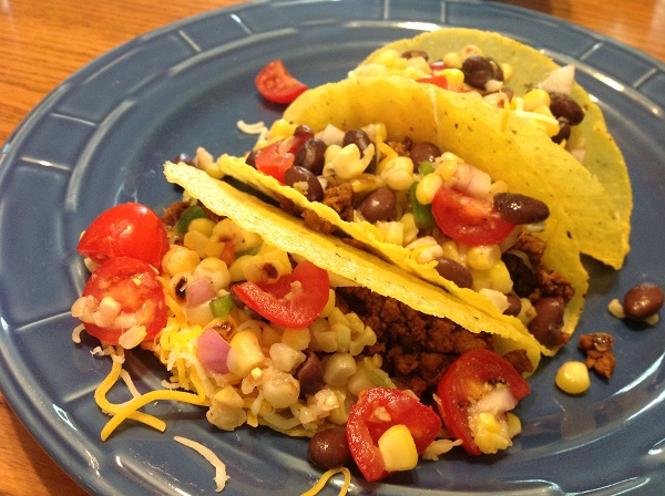 Corn Salsa on Beef Tacos