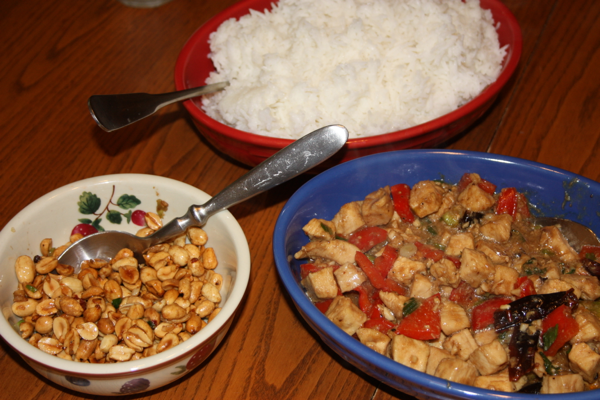 kung pao chicken in bowls