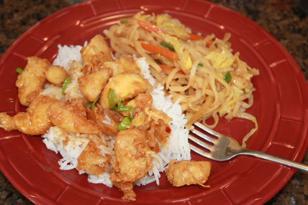 plated orange chicken